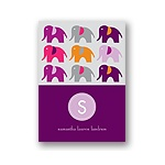 Elephant Line Up -- Pink Thank You Card