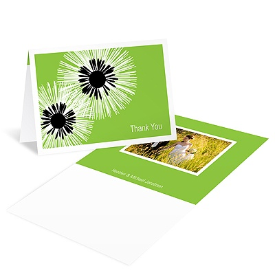 Flower Burst Wedding Photo Thank You Card