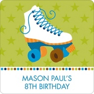 Let's Roll in Blue! Kids Birthday Favor Stickers