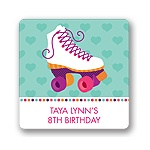 Let's Roll in Pink! -- Kids Birthday Favor Stickers