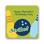 All Strikes in Blue -- Kids Birthday Favor Stickers
