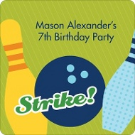 All Strikes in Blue Kids Birthday Favor Stickers