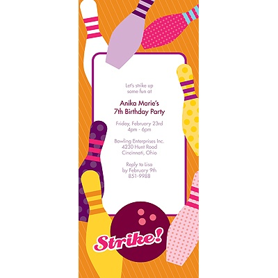 All Strikes -- Pink Birthday Invitation