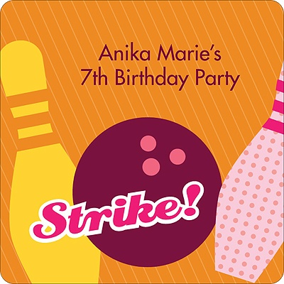 All Strikes in Pink Kids Birthday Favor Stickers