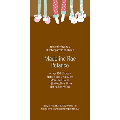 Slippers and Slumber Parties -- Birthday Invitation