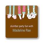 Slippers and Slumber Parties -- Kids Birthday Favor Stickers