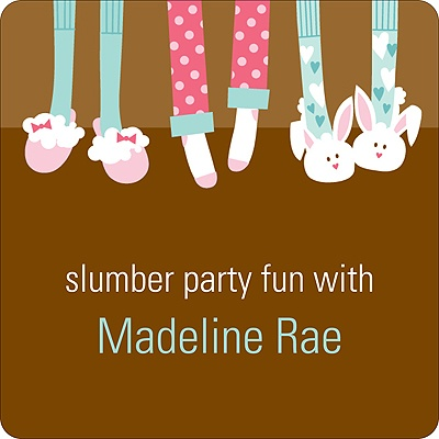 Slippers and Slumber Parties Kids Birthday Favor Stickers