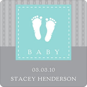 Foot Prints Stickers -- Baby Shower Favor Tags