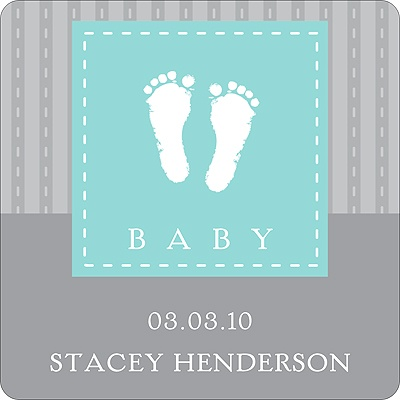 Foot Prints Stickers Baby Shower Favor Tags