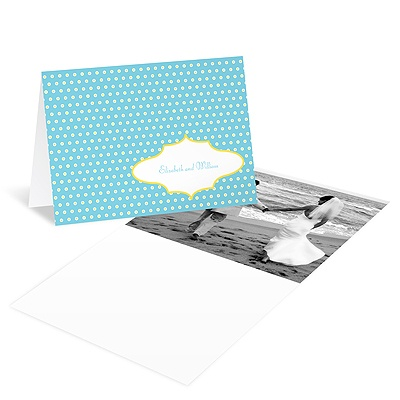 Dotted Frame Wedding Photo Thank You Card