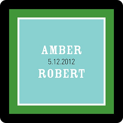 Contemporary Frames in Green Wedding Favor Stickers