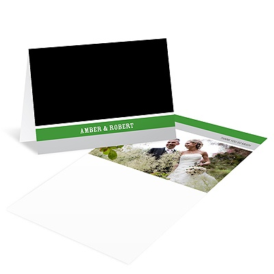 Contemporary Frames in Green Wedding Photo Thank You Card