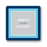 Contemporary Frames in Blue -- Wedding Favor Stickers