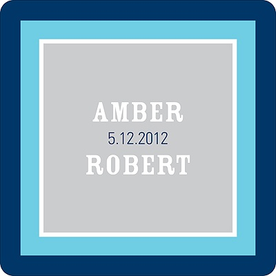 Contemporary Frames in Blue Wedding Favor Stickers