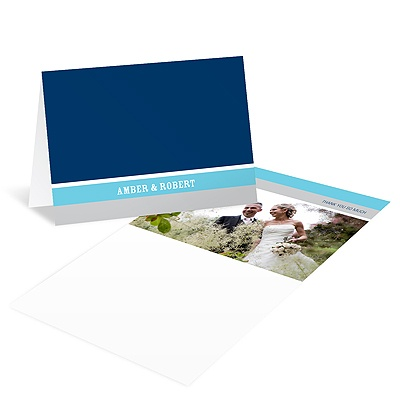Contemporary Frames in Blue Wedding Photo Thank You Card