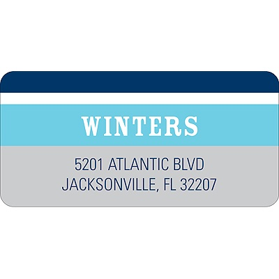 Contemporary Frames in Blue Wedding Address Label