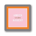 Contemporary Frames in Pink -- Wedding Favor Stickers