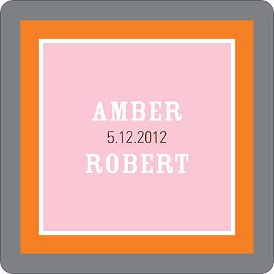 Contemporary Frames in Pink Wedding Favor Stickers