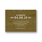 Engraved Memories -- Brown Wood Grain Wedding Invitation