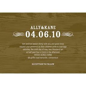 Engraved Memories -- Brown Wood Grain Wedding Invitation