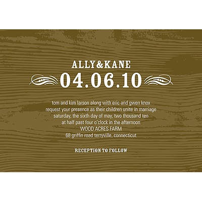 Engraved Memories Brown Wood Grain Wedding Invitation