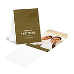 Engraved Memories -- Brown Wedding Photo Thank You Card