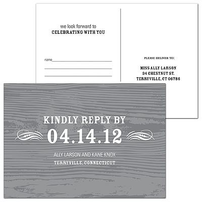 Engraved Memories -- Wedding Response Postcard