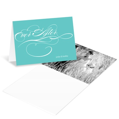 Flowing Embrace Wedding Photo Thank You Card