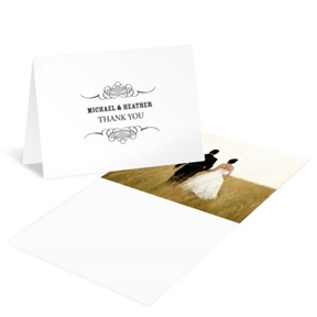 Elegant Edging -- Wedding Photo Thank You Cards