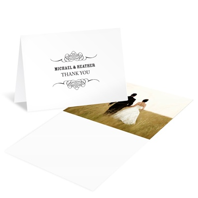 Elegant Edging Wedding Photo Thank You Cards