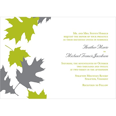 Turning Leaves Fall Wedding Invitation