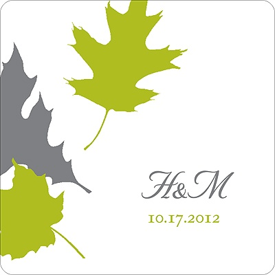 Turning Leaves Wedding Favor Stickers