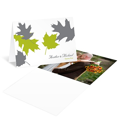 Turning Leaves Wedding Photo Thank You Card