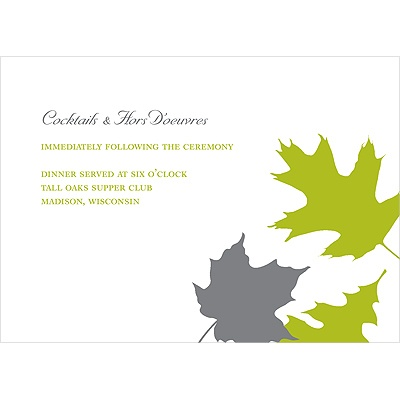 Turning Leaves Wedding Reception Card