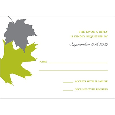 Turning Leaves Wedding Response Card