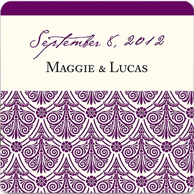 Elegant Damask Array -- Wedding Favor Stickers