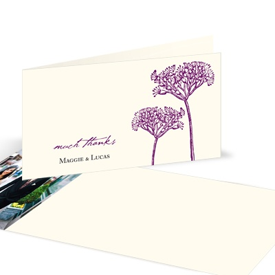 Elegant Floral Stalks -- Wedding Photo Thank You Cards