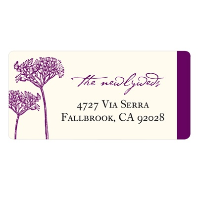 Elegant Floral Stalks -- Wedding Address Label