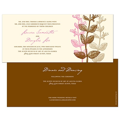 Subtle Vines -- Autumn Wedding Invitation