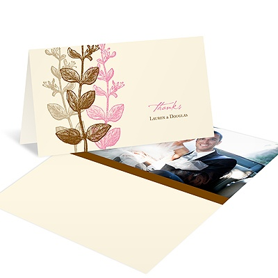 Subtle Vines -- Wedding Photo Thank You Card