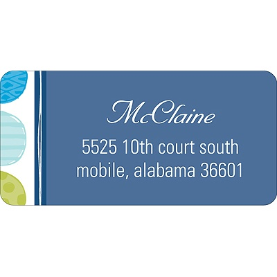 Round & Round We Go! in Blue -- Address Label