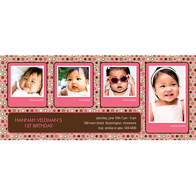 Polka Dot Parade -- Pink Kids Photo Birthday Party Invitation