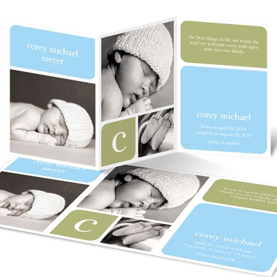 Boy Baby Blocks Adoption Announcements