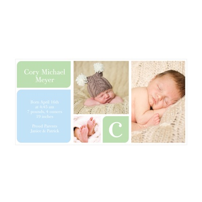Photo Paper Baby Boy Blocks Birth Announcements