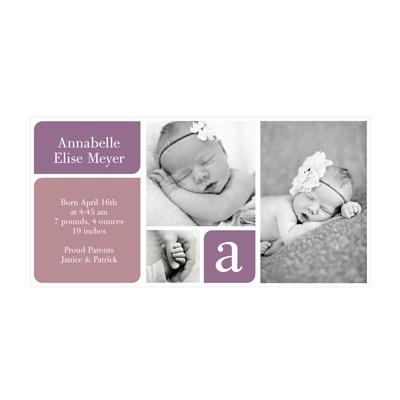 Photo Paper Baby Girl Blocks Birth Announcements