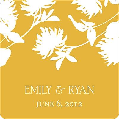 Stylish Flower Background Wedding Favor Stickers
