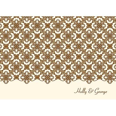 Exquisite Pattern Ecru Thank You Card