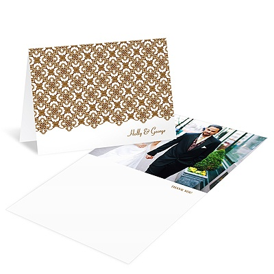 Exquisite Pattern White Photo Thank You Card