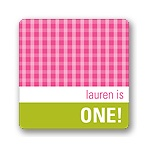 Gingham -- Kids Birthday Favor Stickers