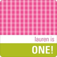 Gingham Kids Birthday Favor Stickers